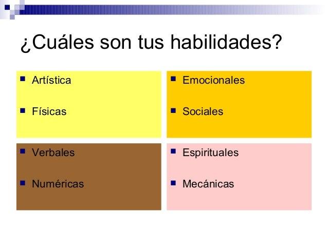 ¿Cuáles son tus habilidades?  Artística  Físicas  Emocionales  Sociales  Verbales  Numéricas  Espirituales  Mecáni...