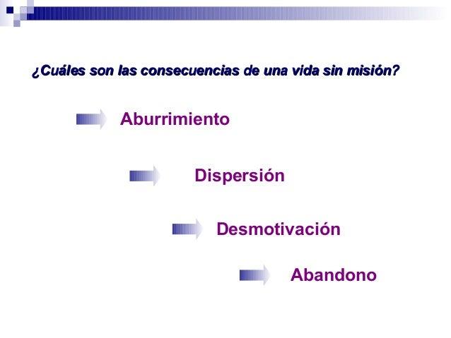 Dispersión ¿Cuáles son las consecuencias de una vida sin misión?¿Cuáles son las consecuencias de una vida sin misión? Desm...