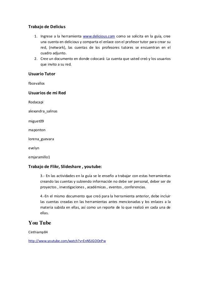 Trabajo de Delicius 1. Ingrese a la herramienta www.delicious.com como se solicita en la guía, cree una cuenta en deliciou...
