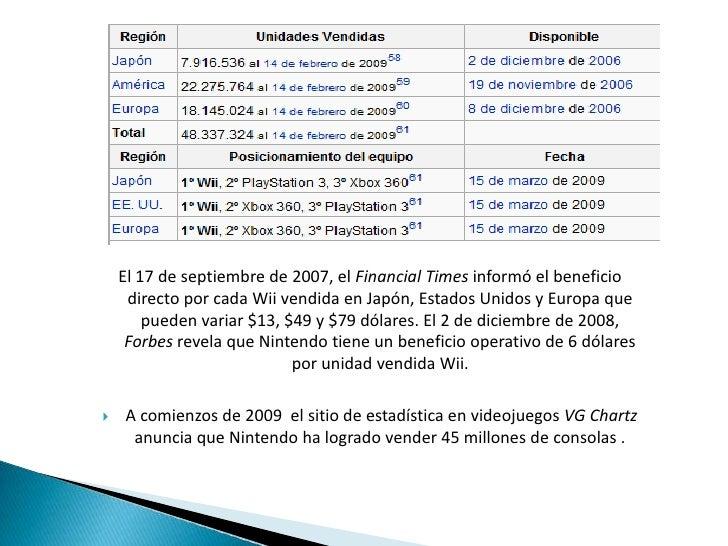 El 17 de septiembre de 2007, el Financial Times informó el beneficio directo por cada Wii vendida en Japón, Estados Unidos...