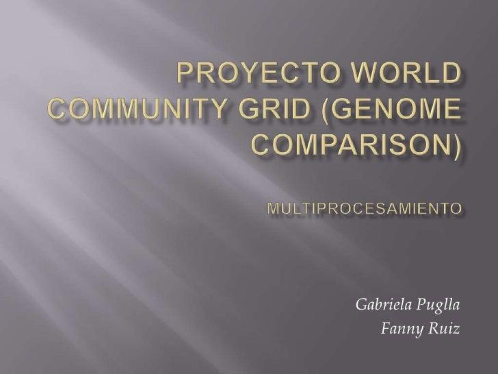 Proyecto World Community Grid (Genome Comparison)Multiprocesamiento<br />Gabriela Puglla<br />Fanny Ruiz <br />