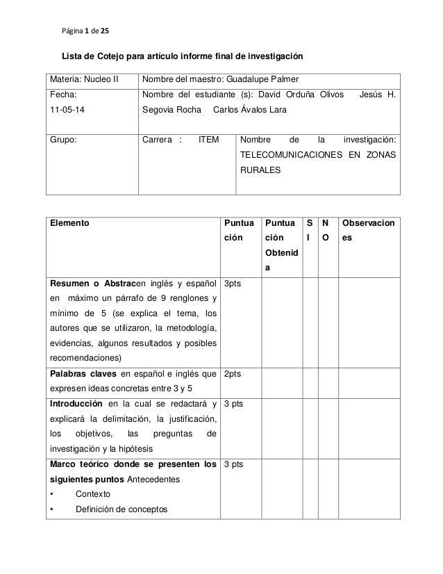 Página 1 de 25 Lista de Cotejo para artículo informe final de investigación Materia: Nucleo II Nombre del maestro: Guadalu...
