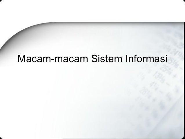 Macam-macam Sistem Informasi