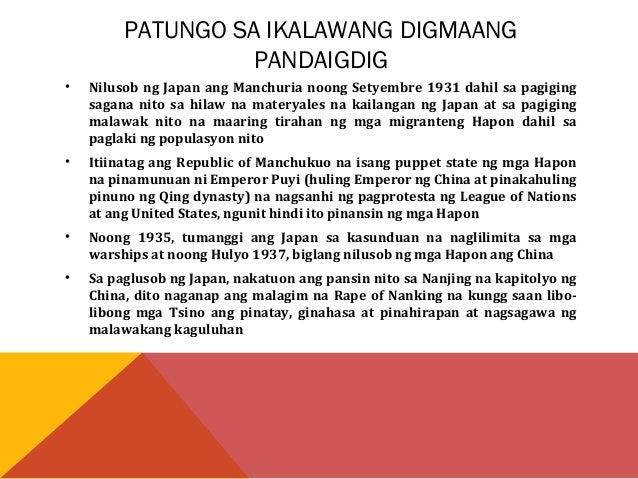 • Kinailangan ng Japan ang Timog Silangang Asya dahil sa likas na  yaman nito tulad ng langis, rubber, mineral, bigas, bul...