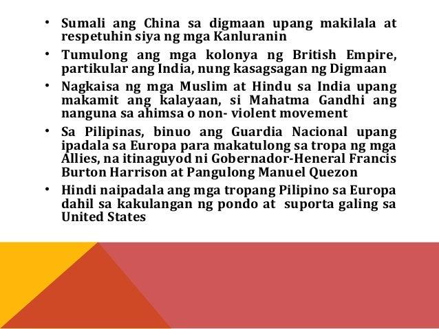 • Sumali ang China sa digmaan upang makilala at  respetuhin siya ng mga Kanluranin  • Tumulong ang mga kolonya ng British ...