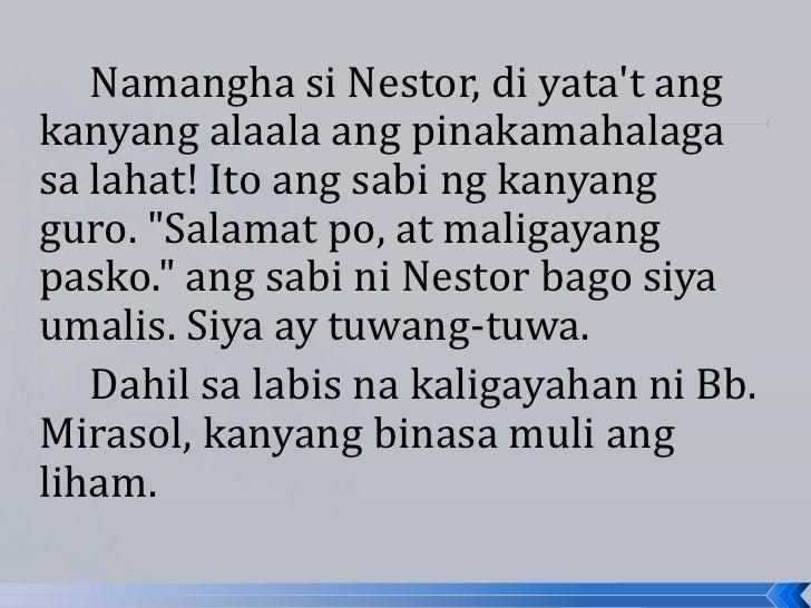 """Namangha si Nestor, di yatat angkanyang alaala ang pinakamahalagasa lahat! Ito ang sabi ng kanyangguro. """"Salamat po, at ma..."""