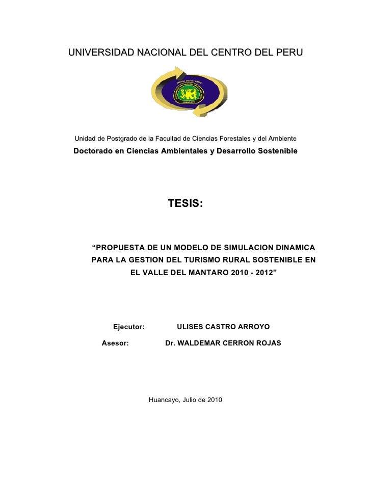 UNIVERSIDAD NACIONAL DEL CENTRO DEL PERU      Unidad de Postgrado de la Facultad de Ciencias Forestales y del Ambiente Doc...