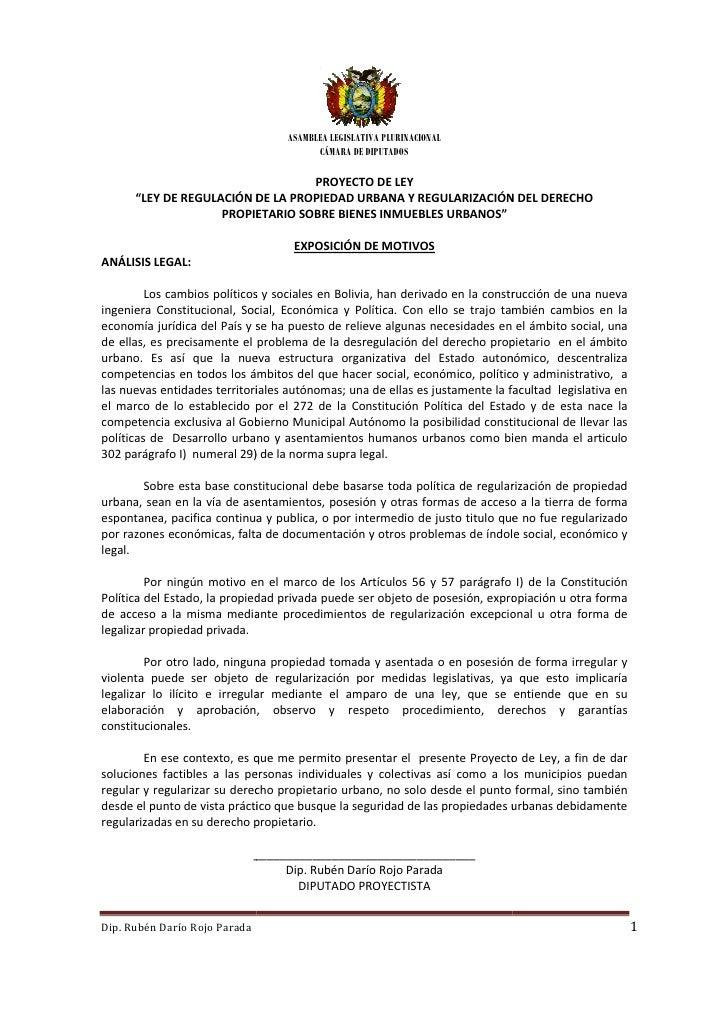 ASAMBLEA LEGISLATIVA PLURINACIONAL                                          CÁMARA DE DIPUTADOS                           ...