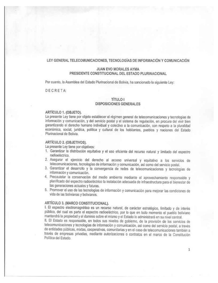 Proyecto de Ley de Telecomunicaciones