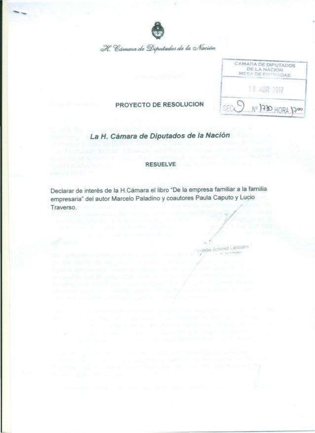 "CAMARA DE DIPUTADOS DELANACJON I;__ ~M=E~A-~ r- r-. ?AS ----<1 PROYECTO DE RESOLUCION k __'7_, ~rre· C N0 )"":}~ HO'L'~. V,..."