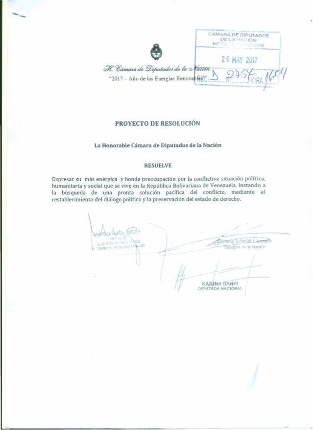 CAM;:'R~·DrtDIPÜTADÓS- DE~A 'liStÓN J.- __ MF '. s 26 y 2 7 PROYECTO DE RESOLUCiÓN La Honorable Cámara de Diputados de la ...