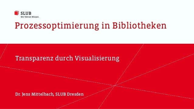 Prozessoptimierung in Bibliotheken Transparenz durch Visualisierung Dr. Jens Mittelbach, SLUB Dresden