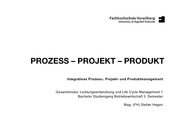 PROZESS – PROJEKT – PRODUKT             Integratives Prozess-, Projekt- und Produktmanagement        Gesamtmodul: Leistung...