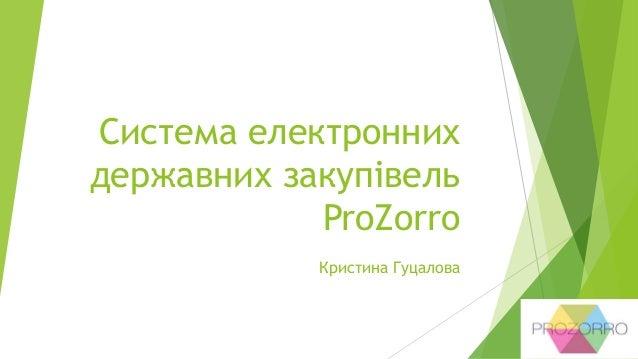 Система електронних державних закупівель ProZorro Кристина Гуцалова