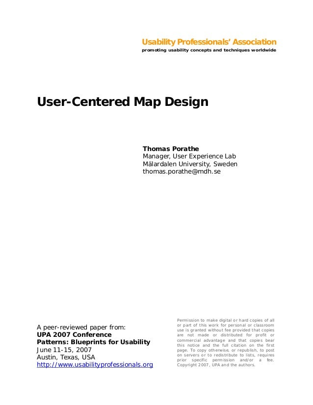 Usability Professionals' Association promoting usability concepts and techniques worldwide A peer-reviewed paper from: UPA...