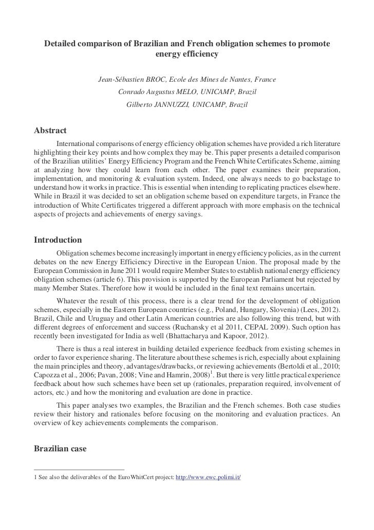 Detailed comparison of Brazilian and French obligation schemes to promote                                 energy efficienc...