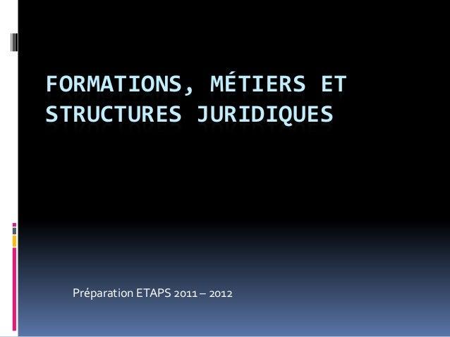 FORMATIONS, MÉTIERS ETSTRUCTURES JURIDIQUES Préparation ETAPS 2011 – 2012