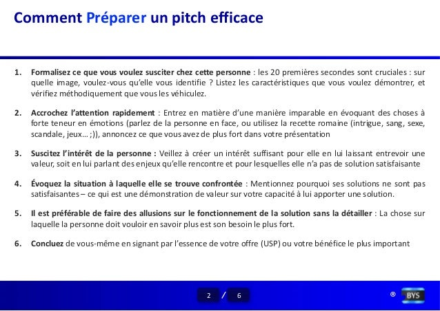 elevator pitch exemple francais