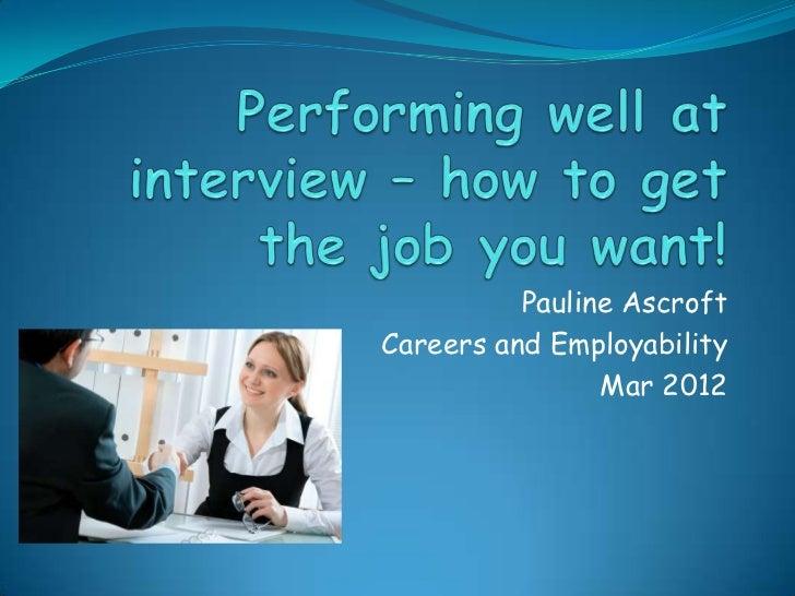 Pauline AscroftCareers and Employability                Mar 2012