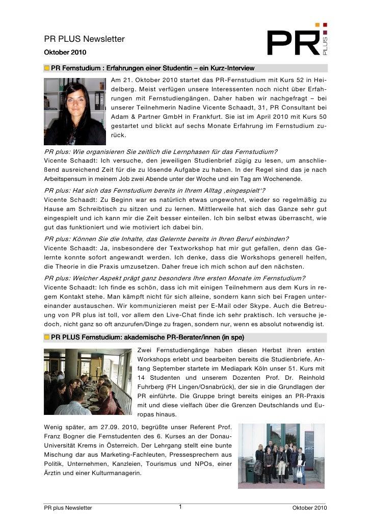 PR PLUS Newsletter         2010 Oktober 2010                                                       Kurz-   PR Fernstudium ...