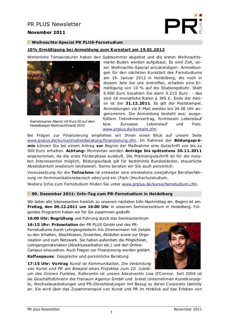 PR PLUS NewsletterNovember 2011  Weihnachts-Special PR PLUS-Fernstudium10% Ermäßigung bei Anmeldung zum Kursstart am 19.01...