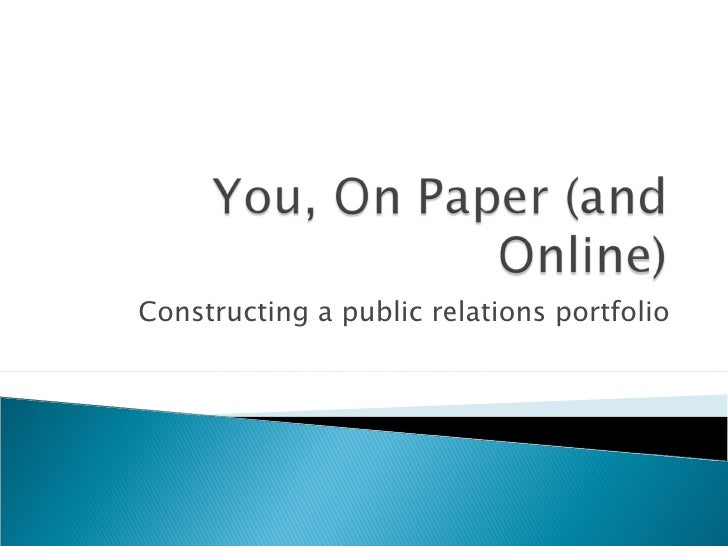 Constructing a public relations portfolio