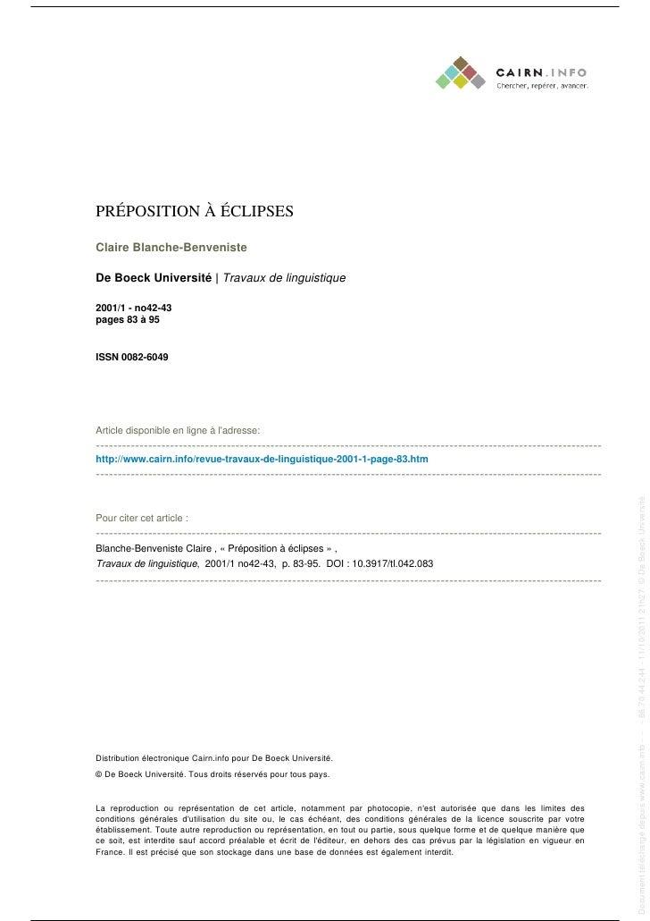 PRÉPOSITION À ÉCLIPSES                                                                                                    ...