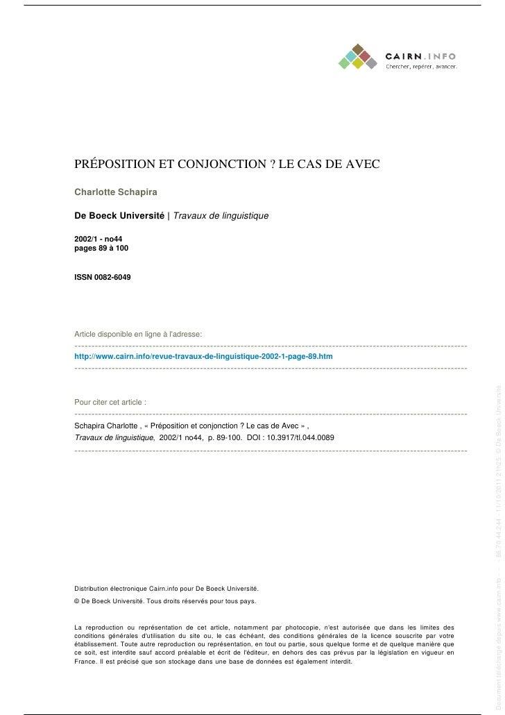 PRÉPOSITION ET CONJONCTION ? LE CAS DE AVEC                                                                               ...