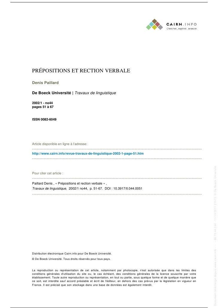 PRÉPOSITIONS ET RECTION VERBALE                                                                                           ...