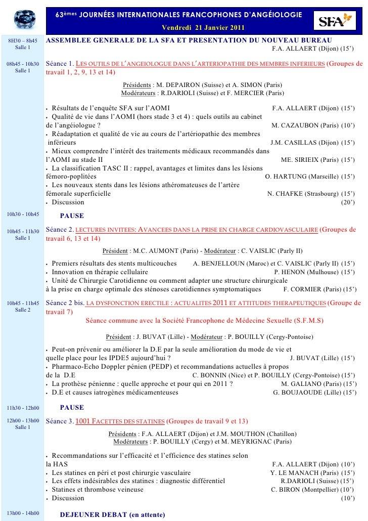 63èmes JOURNÉES INTERNATIONALES FRANCOPHONES D'ANGÉIOLOGIE                                                       Vendredi ...