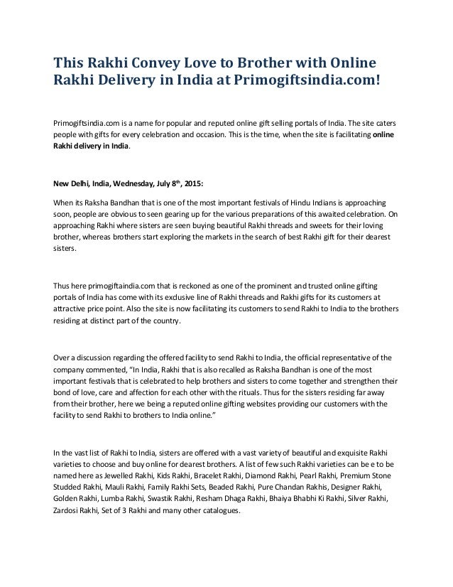 This Rakhi Convey Love to Brother with Online Rakhi Delivery in India at Primogiftsindia.com! Primogiftsindia.com is a nam...
