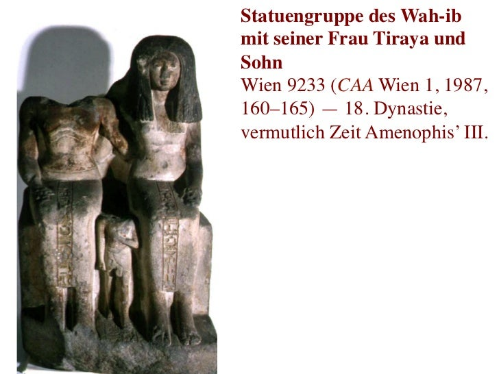 Statuengruppe des Wah-ibmit seiner Frau Tiraya undSohnWien 9233 (CAA Wien 1, 1987,160–165) — 18. Dynastie,vermutlich Zeit...