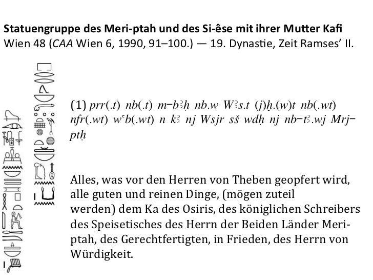 Statuengruppe des Meri-‐ptah und des Si-‐êse mit ihrer Mu3er Kafi Wien 48 (CAA Wien 6, 1990...