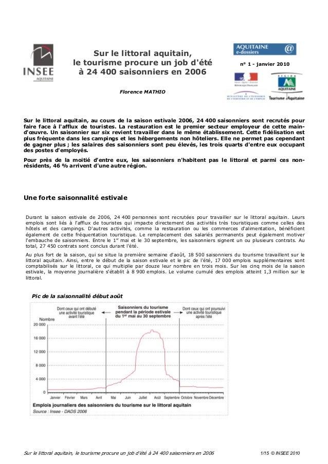 Sur le littoral aquitain, le tourisme procure un job d'été à 24 400 saisonniers en 2006 1/15 © INSEE 2010 Sur le littoral ...