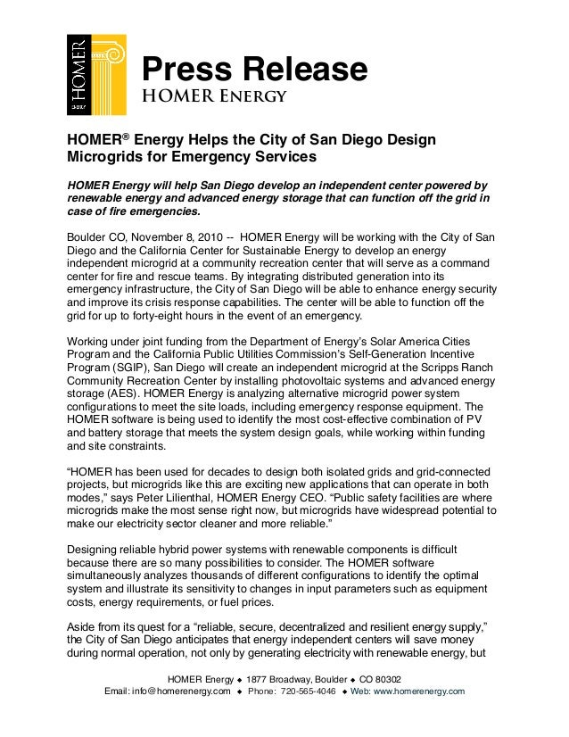 HOMER® Energy Helps the City of San Diego Design Microgrids for Emergency Services HOMER Energy will help San Diego develo...