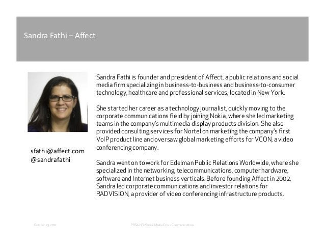 """!""""#$%""""&""""()*&+&,-./(&&                      Sandra Fathi is founder and president of Affect, a public relations and social  ..."""
