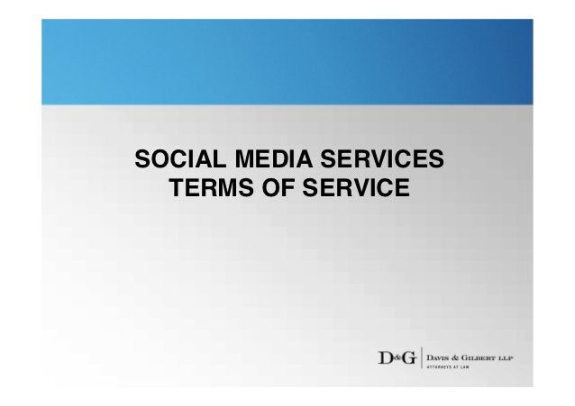 SOCIAL MEDIA SERVICES  TERMS OF SERVICE