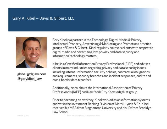 "G""%;&,3&H*A.7&+&<""=*0&I&G*7A.%(J&KK8&                       Gary Kibel is a partner in the Technology, Digital Media & Pri..."