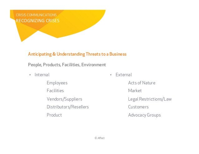 CRISIS COMMUNICATIONST98SGUYZYUG&8TY!9!&      Anticipating & Understanding Threats to a Business      People, Products, Fa...