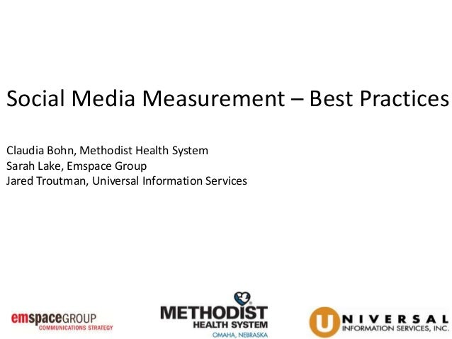 Social Media Measurement – Best Practices  Claudia Bohn, Methodist Health System  Sarah Lake, Emspace Group  Jared Troutma...