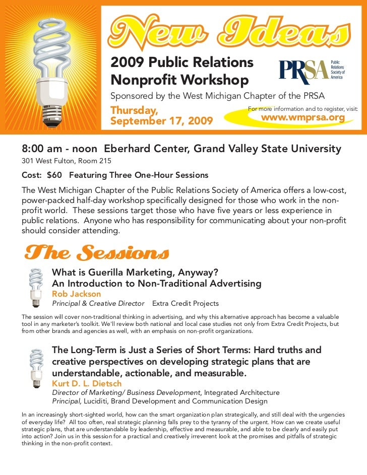 2009 Public Relations                                  Nonprofit Workshop                                  Sponsored by th...