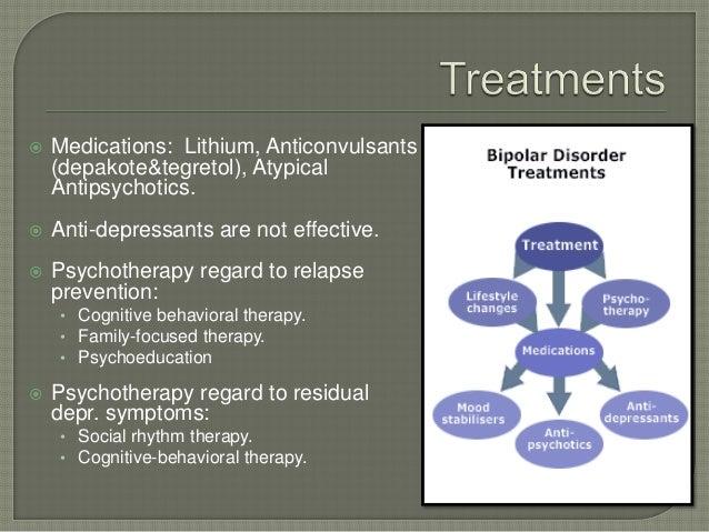    Medications: Lithium, Anticonvulsants    (depakote&tegretol), Atypical    Antipsychotics.   Anti-depressants are not ...