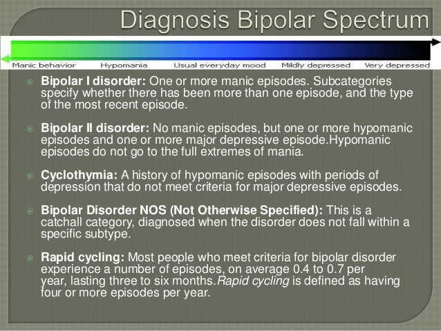    Bipolar I disorder: One or more manic episodes. Subcategories    specify whether there has been more than one episode,...