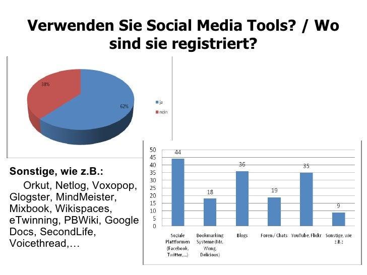 Verwenden Sie Social Media Tools? / Wo sind sie registriert? Sonstige, wie z.B.: Orkut, Netlog, Voxopop, Glogster, MindMei...