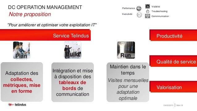 """DC OPERATION MANAGEMENT 04/03/2015 Slide 18 """"Pour améliorer et optimiser votre exploitation IT"""" •Notre proposition Product..."""