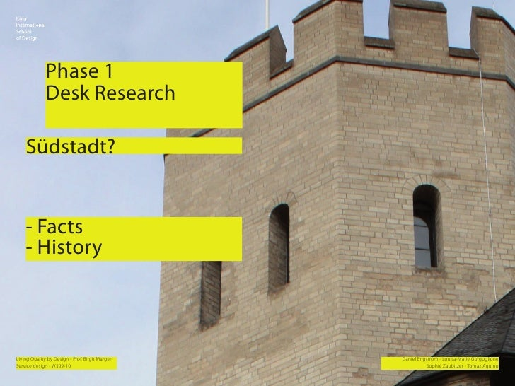 Phase 1               Desk Research      Südstadt?       - Facts     - History    Living Quality by Design - Prof. Birgit ...