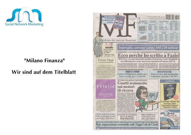 """""""Milano Finanza"""" Wir sind auf dem Titelblatt"""
