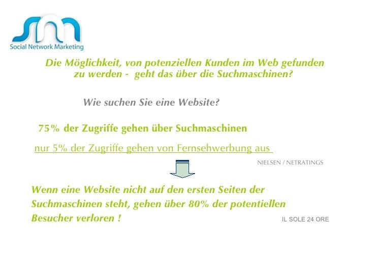 Die Möglichkeit, von potenziellen Kunden im Web gefunden zu werden -  geht das über die Suchmaschinen?  Wie suchen Sie ein...