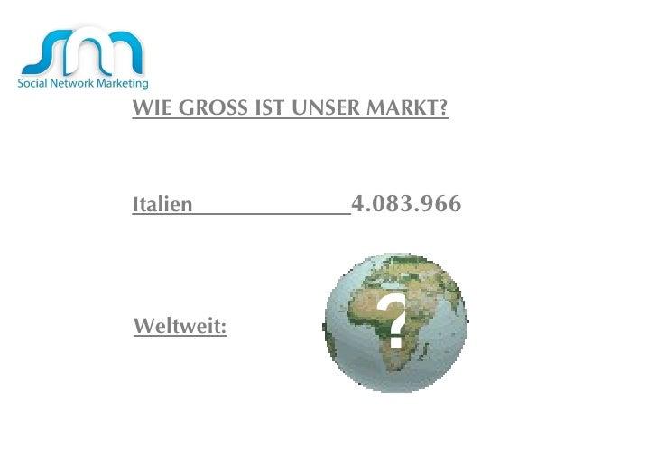 WWIE GROSS groß sind wie unsere MARKT?  WIE GROSS IST UNSER MARKT? Italien  4.083.966 Weltweit: ? Eâ € ™ groß sind wie uns...