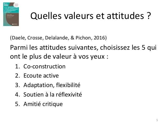 Quelles valeurs et attitudes ? (Daele, Crosse, Delalande, & Pichon, 2016) Parmi les attitudes suivantes, choisissez les 5 ...
